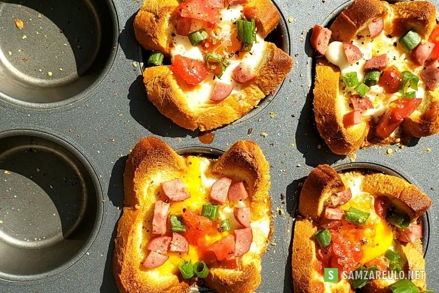 როგორ მოვამზადოთტოსტის პური კვერცხითა და ძეხვით.