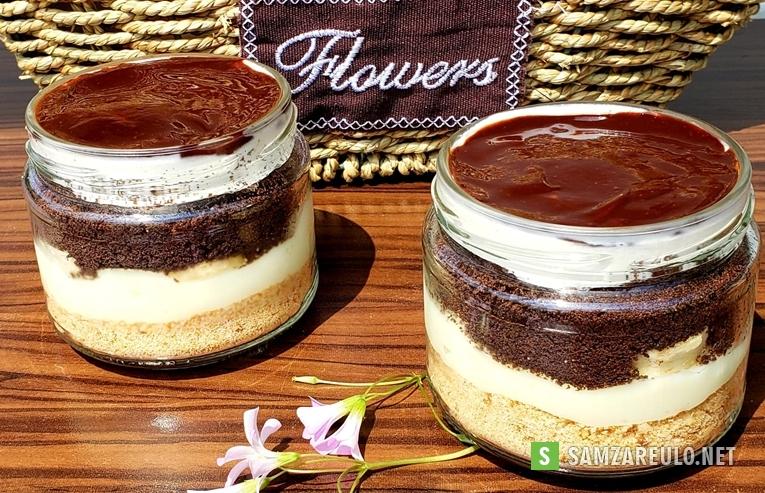 როგორ მოვამზადოთორცხობილის დესერტი ხაჭოს კრემით და შოკოლადის მინანქარით.